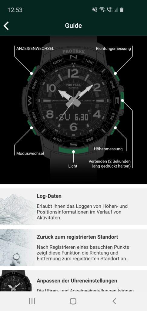 Guide in der Casio Pro Trek Connected App
