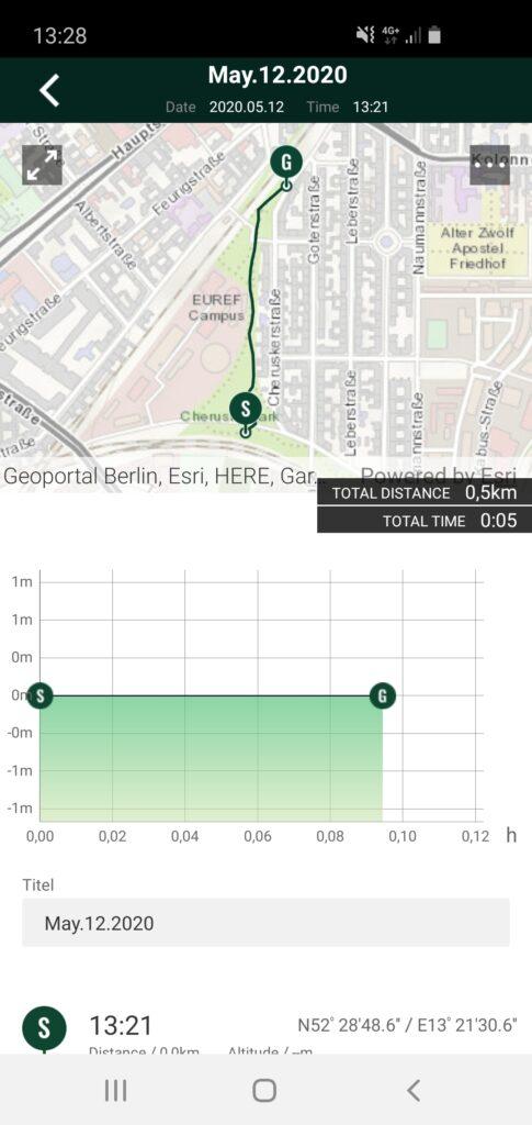 Route in der Casio Pro Trek Connected App