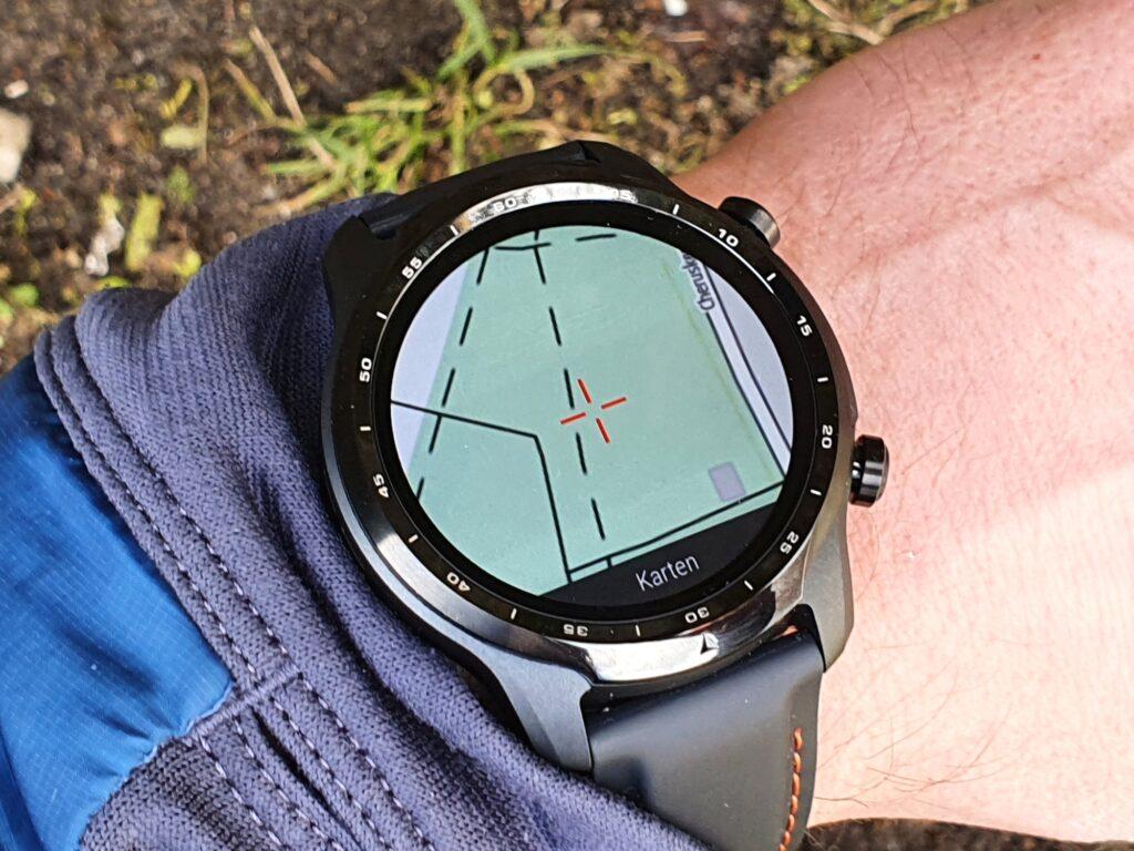 Outdooractive-Kartenansicht mit der Mobvoi Ticwatch Pro 3