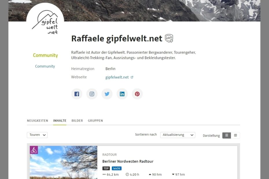 Öffentliches Outdooractive Pro+ Profil meines Blogs